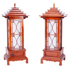 Large Pair of Pagoda Table Lamps