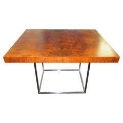 Fantastic Milo Baughman Burled Walnut Side End Table Thin Chrome Frame
