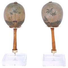 Pair of Vintage Painted Cuban Maracas