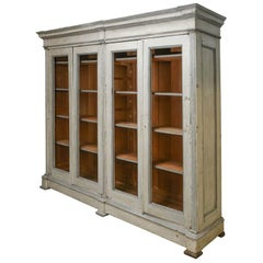 19th Century Italian Very Large Painted Pine Bookcase
