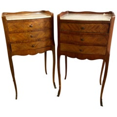 Pair of French Antique Marble Top 3-Drawer Stands / End Tables or Nightstands