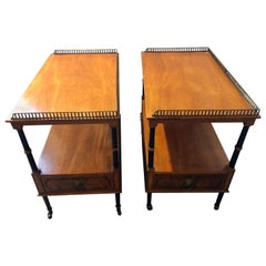 Pair of Beacon Hill Mahogany and Ebony Galleried Stands with Side Drawers