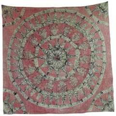 Antique Pink and Black Linen Hand Printed Indian Cloth