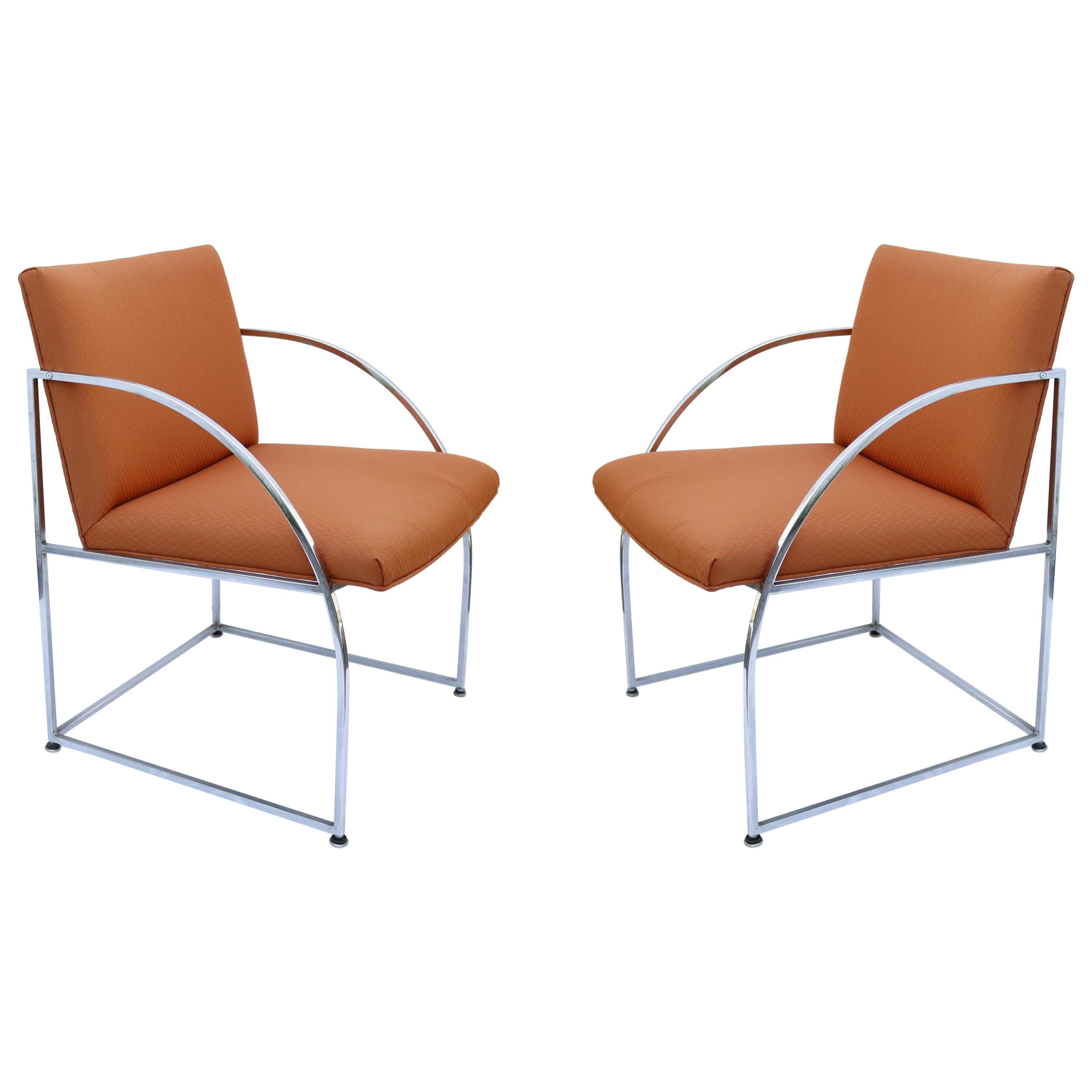 Chrome-Framed Pair of Chairs by Milo Baughman for Thayer Coggin