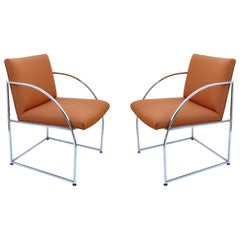 Chrome-Framed Pair of Chairs by Milo Baughman for Thayer Coggins