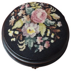 19th Century Floral Tapestry English Round Footstool