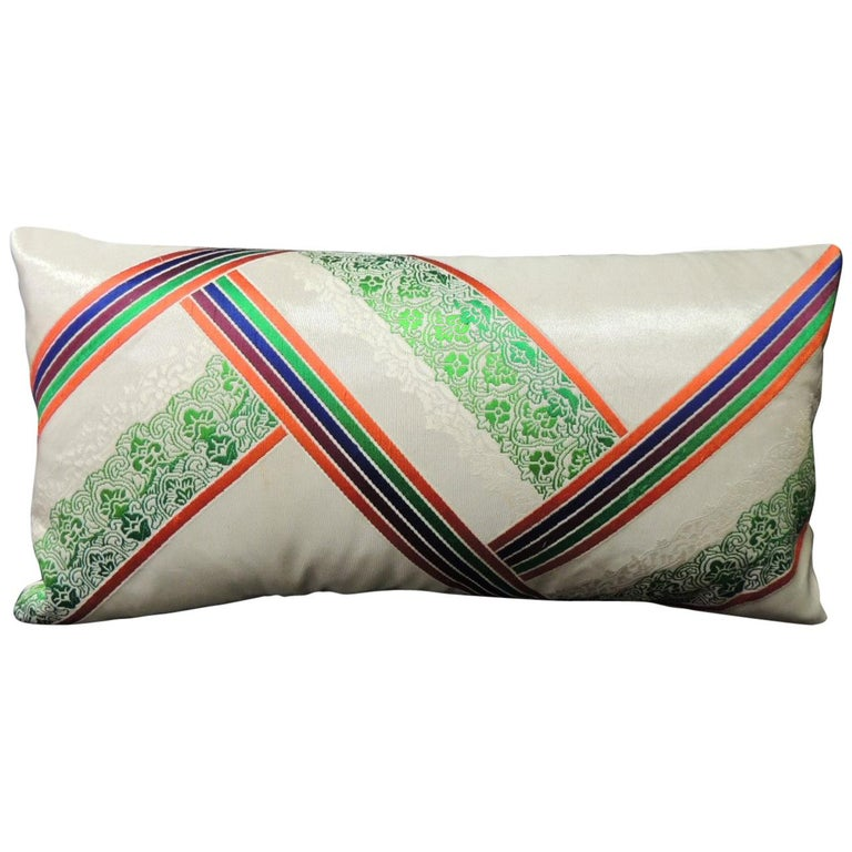 Vintage Orange and Green Obi Decorative Silk Embroidery Lumbar Pillow For Sale