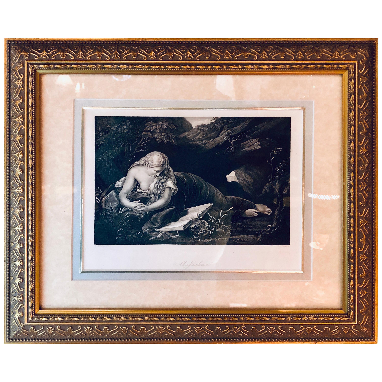 Diminutive Etching of Magdelena in a Gilt Frame Signed G. Batoni