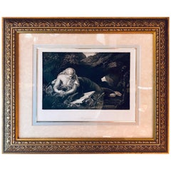 Diminutive Etching of Magdelina in a Gilt Frame Signed G. Batoni