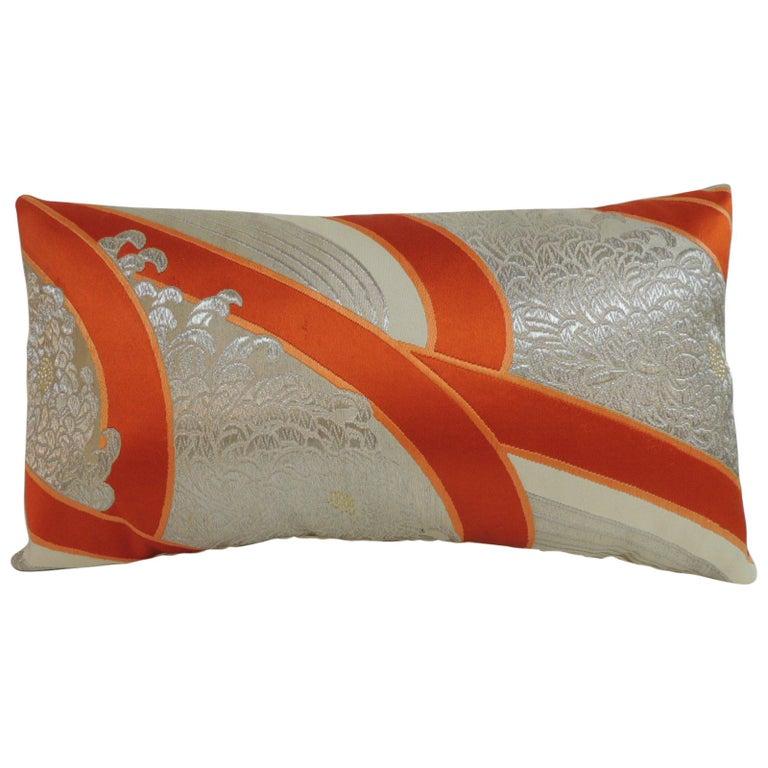 """Vintage Kimono Sash """"Obi"""" Decorative Silk Embroidery Lumbar Pillow For Sale"""