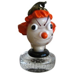 1950s Alfredo Barbini Italian Art Glass Murano Clown Bust Sculpture
