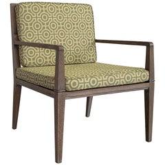 Hollywood Regency Pickled Oak Upholstered Armchair