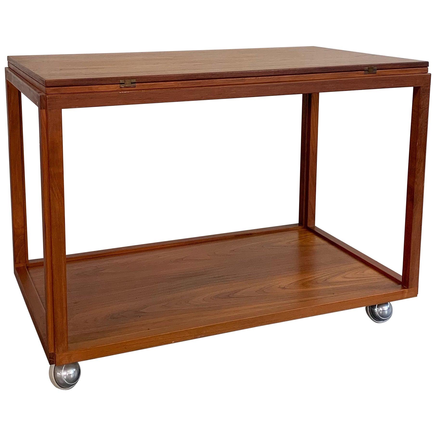 Danish Modern Rolling Teak Extension Serving Table Cart