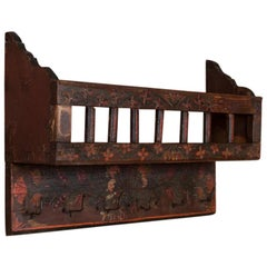 Antique Folk Art Painted Wall Rack from Hungary