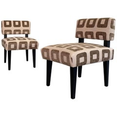Custom Upholstered Maple Slipper Chairs