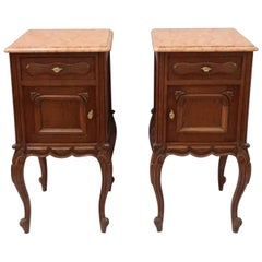 Pair of Early 20th Century Continental Oak Bedside Cabinets with Marble Tops
