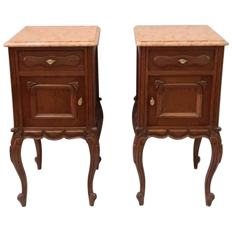 Pair of Early 20th Century Continental Oak Bedside Cabinets with Marble Tops For Sale