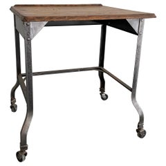 Custom Industrial Brushed Steel And Oak Writing Desk Table