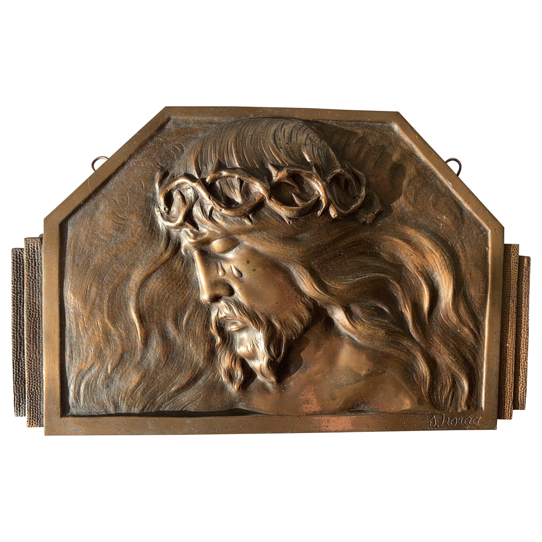 Art Deco Bronze Religious Art Wall Plaque in Relief Depicts Suffering of Christ
