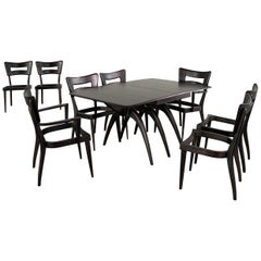 Heywood Wakefield Ebonized Wishbone Dogbone Dining Room Set For Eight