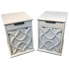 Pair of Moderage Sculptural Parzinger White Lacquered King Size Nightstands