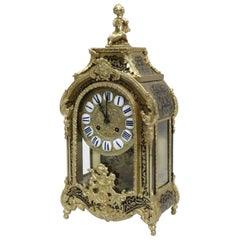 French 19th Century Louis XIV Style Boulle Mantel Clock with Bronze Gilt Mounts