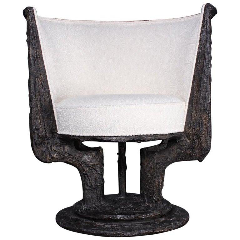 Paul Evans Sculpted Bronze Swivel Chair For Sale