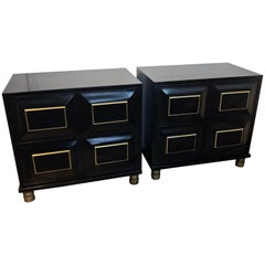 Pair of Mastercraft Black Lacquer and Brass Block Front Cabinets