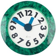 Memphis Wall Clock Green Marble Pattern du Pasquier and Sowden, Neos Italy 1980s