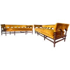Vintage Hampton House Custom Amber Silk Velvet Regency Romanesque 3-Seat Sofa