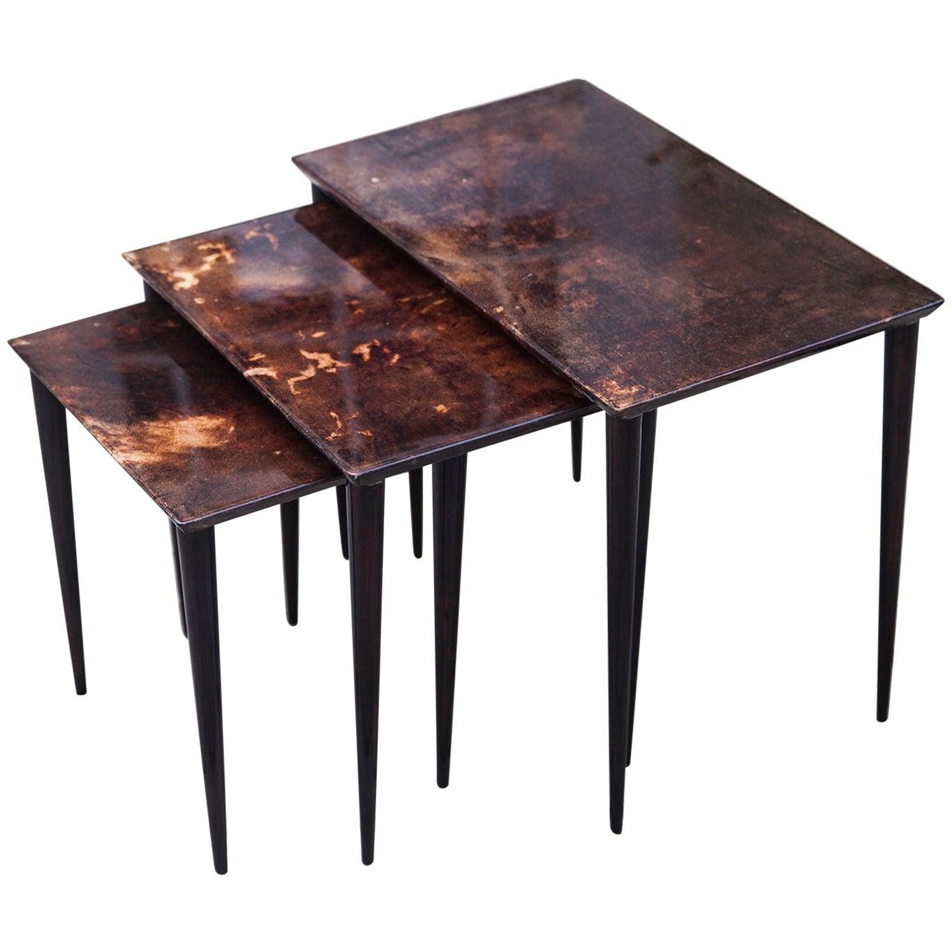 Aldo Tura Nesting Tables Brown Goatskin, 1960s