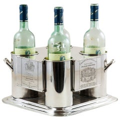 Midcentury French Silver Wine Chiller with Engraved Wine Labels, 1966