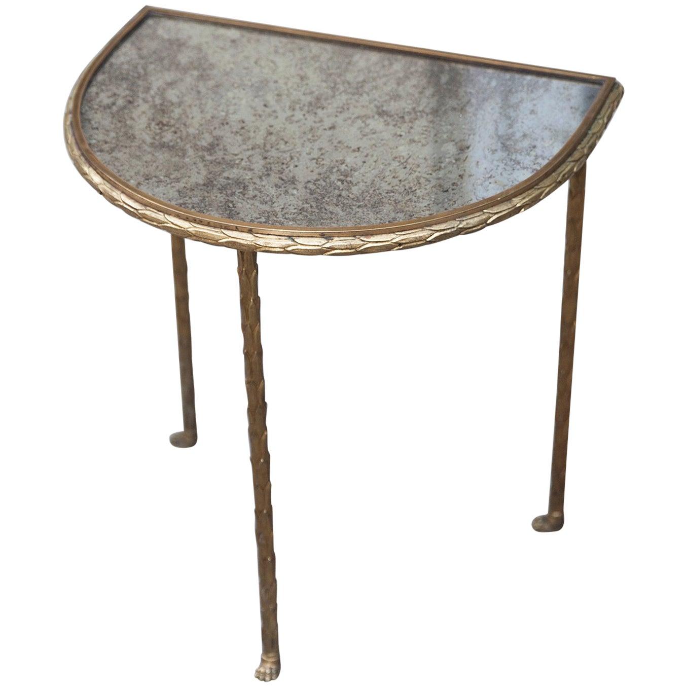 Maison Bagues Elegant Gilt Bronze Side Table France, 1940