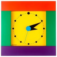 Postmodern Colorful Square Wall Clock by Shohei Mihara for Wakita, Japan, 1980s