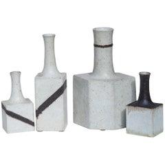 Bruno Gambone Art Pottery Greige Brown Vase Set of 4
