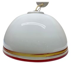 Large White, Yellow and Red Italian Murano Art Glass Dome Pendant Light