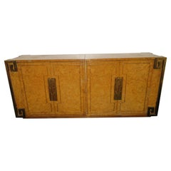 Stunning Mastercraft Amboyna Burl and Brass Greek Key Credenza Midcentury