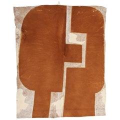 """Pierre Székely """"Le Couple"""" Cow Skin Tapestry Unique Original Piece, 1978"""