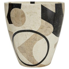 "Large Postmodern Tessellated Stone Round ""Et Cetera"" Planter, 1990s"