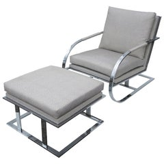 Milo Baughman Chrome Lounge Chair and Ottoman for Thayer Coggin