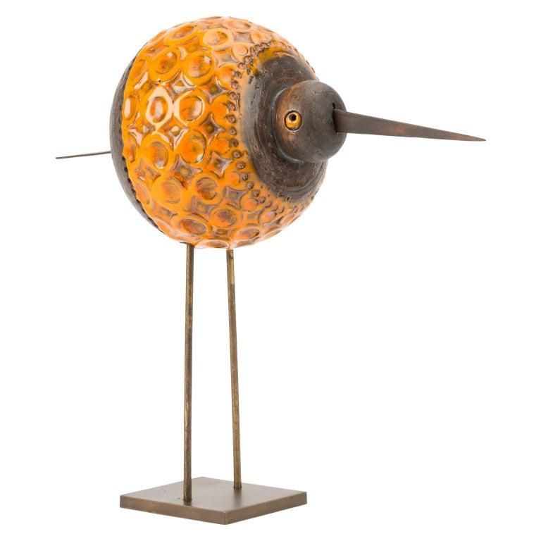 Signed Glazed Ceramic Bird by, Cau G. Bitossi & Figli, 2016 For Sale