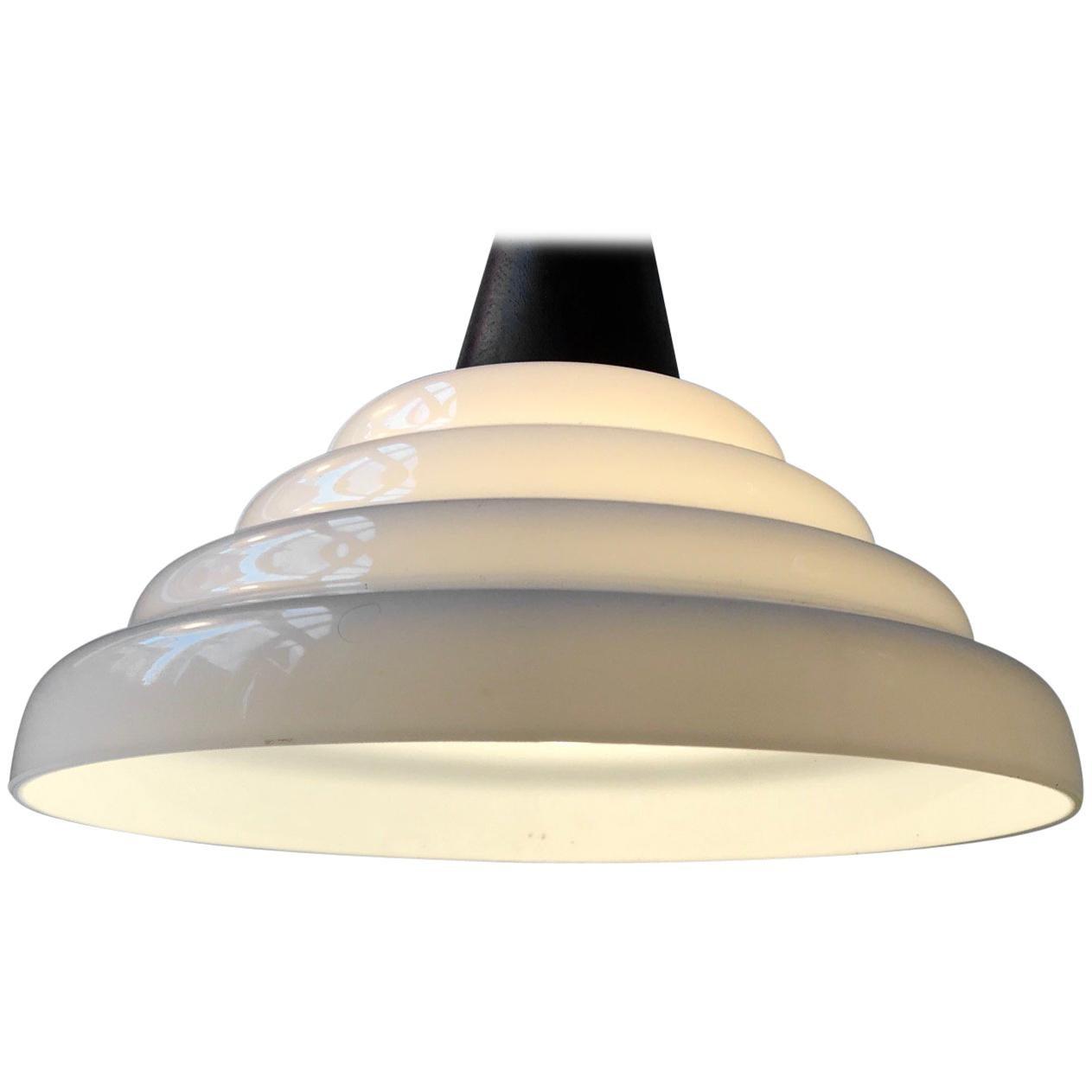 Midcentury Swedish Teak and White Cased Glass Pendant Light, 1960s