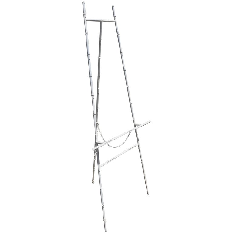 Hollywood Regency Faux Bamboo White Lacquered Easel For Sale