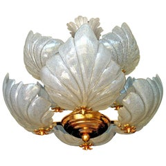 Italian Murano Glass Midcentury Hollywood Regency Gilt Chandelier