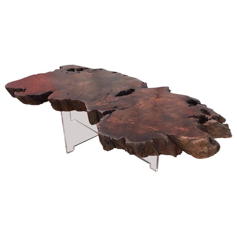 Vintage Burl Wood Slab Coffee Table At 1stdibs: Vintage Reclaimed Burl Redwood Live Edge Slab Coffee Table