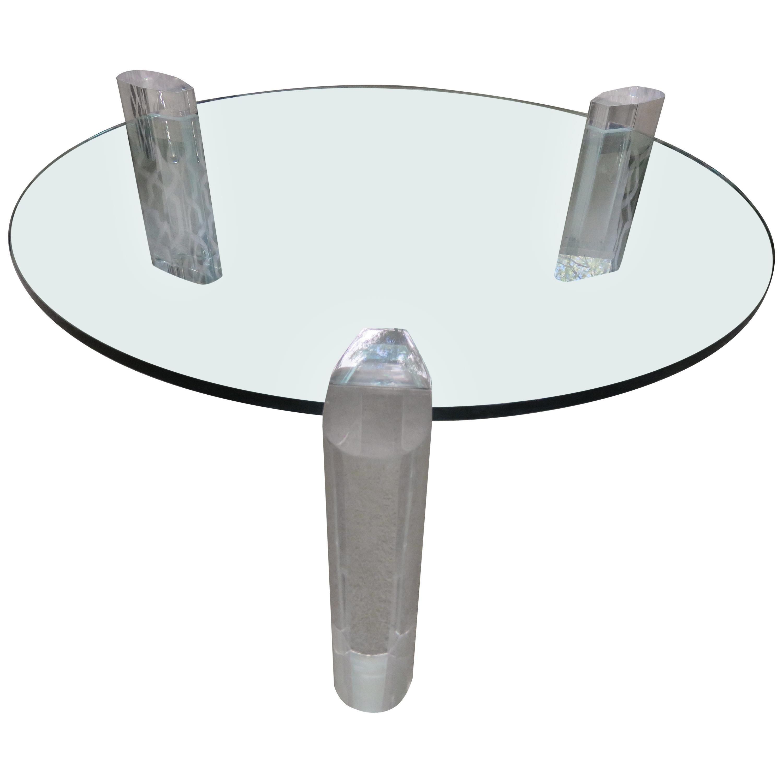 Gorgeous Karl Springer Style Lucite Column Round Coffee Table Mid-Century Modern