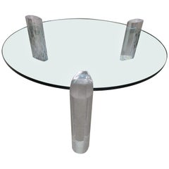 Gorgeous Karl Springer Style Lucite Column Round Coffee Table Mid-Century Modern