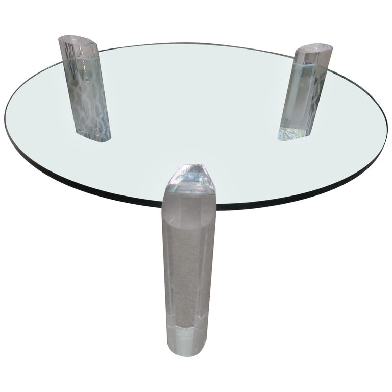 Gorgeous Karl Springer Style Lucite Column Round Coffee Table Mid-Century Modern For Sale