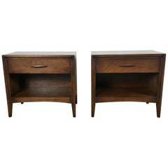 Classic Modernist Walnut Night Stands by Broyhill Premier