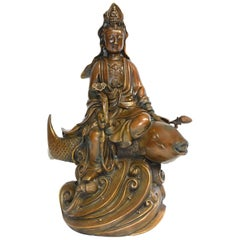 Large Bronze Statue Kwan Yin on Koi Fish